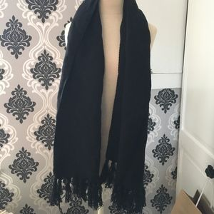 Accessories - Black Scarf with Tassel Detailing on Bottom